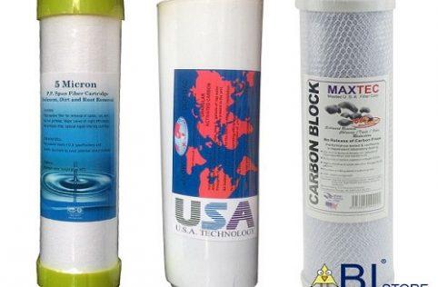 bộ 3 lõi lọc nước 1 2 3 cho máy lọc nước ro, kangaroo, karofi lõi số 1 có bịt