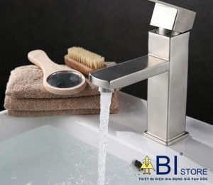 vòi lavabo nóng lạnh inox 304 vuông
