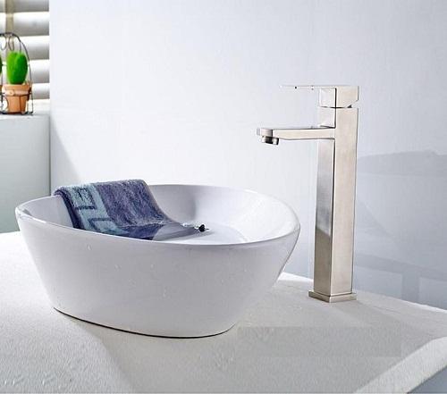 vòi lavabo nóng lạnh 1 lỗ inox 304 cao 30cm